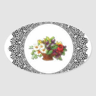 colorful flower pot oval sticker