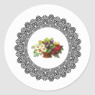 colorful flower pot round sticker