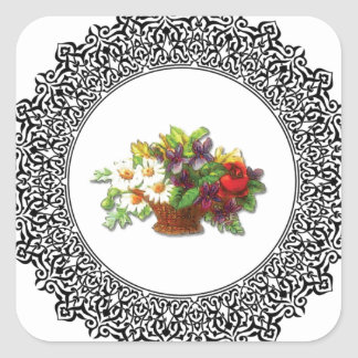 colorful flower pot square sticker