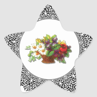 colorful flower pot star sticker