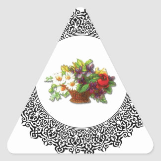 colorful flower pot triangle sticker