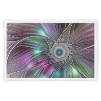 Colorful Flower Power Abstract Modern Fractal Art Acrylic Tray