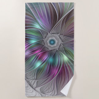Colorful Flower Power Abstract Modern Fractal Art Beach Towel