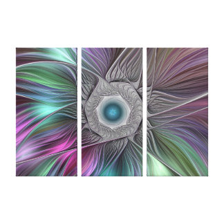 Colorful Flower Power Abstract Modern Fractal Art Canvas Print