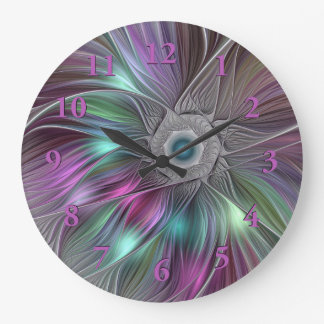 Colorful Flower Power Abstract Modern Fractal Art Large Clock