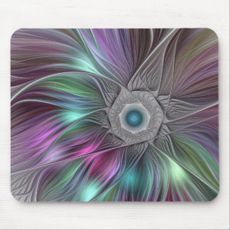 Colorful Flower Power Abstract Modern Fractal Art Mouse Pad