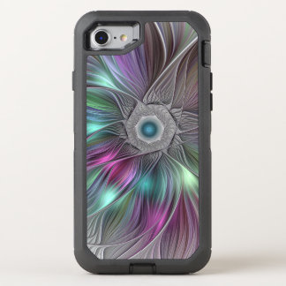 Colorful Flower Power Abstract Modern Fractal Art OtterBox Defender iPhone 8/7 Case