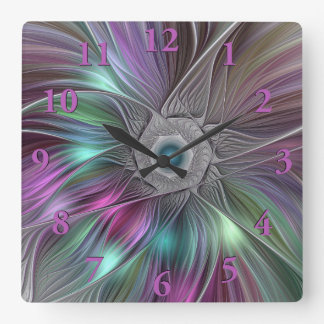 Colorful Flower Power Abstract Modern Fractal Art Square Wall Clock