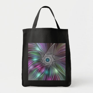 Colorful Flower Power Abstract Modern Fractal Art Tote Bag