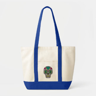 Colorful Flower Sugar Skull Impulse Tote Bag