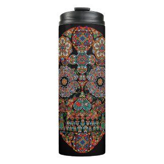 Colorful Flower Sugar Skull Thermal Tumbler