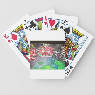 colorful flower with  Skeleton Bicycle Playing Cards