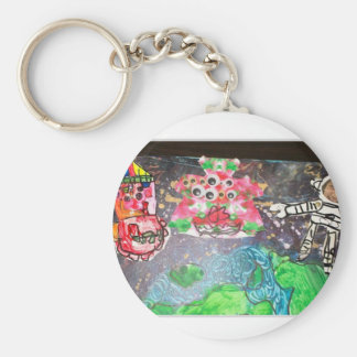 colorful flower with  Skeleton Keychain