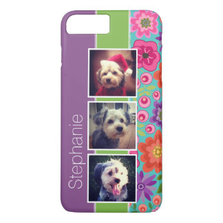 Colorful Flowers 3 Photo Collage Personalized Case-Mate iPhone Case