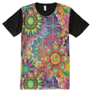 Colorful Flowers All-Over-Print T-Shirt