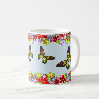 Colorful Flowers And Butterflies Coffee Mug