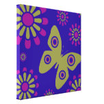 Colorful Flowers And Butterfly Canvas Art Canvas Print