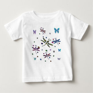 colorful flowers and dragonflies baby T-Shirt