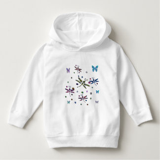 colorful flowers and dragonflies hoodie