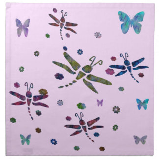 colorful flowers and dragonflies napkin