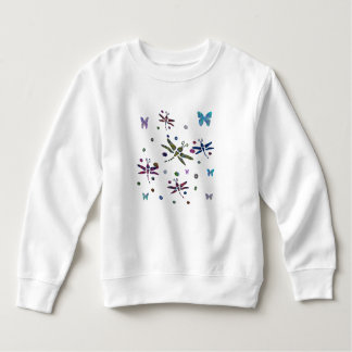 colorful flowers and dragonflies sweatshirt