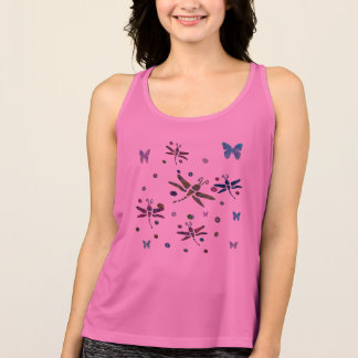 colorful flowers and dragonflies tank top
