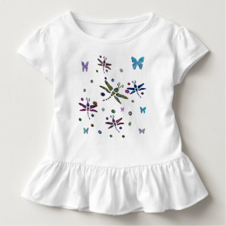 colorful flowers and dragonflies toddler t-shirt