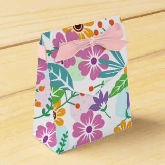 Colorful flowers and leaves pattern favor boxes