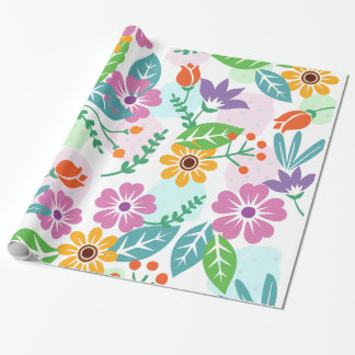Colorful flowers and leaves pattern gift wrap