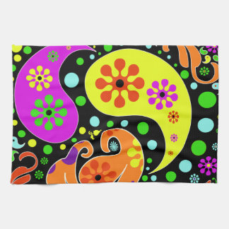 Colorful Flowers And Paisley Pattern Kitchen Towel