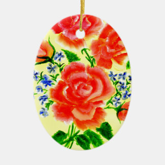 Colorful Flowers Art 2 Ceramic Oval Ornament