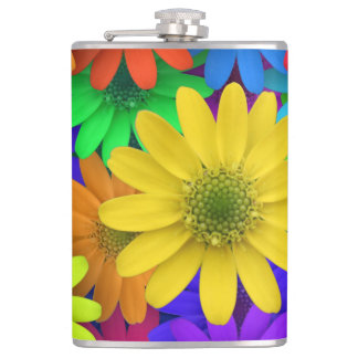 Colorful flowers art hip flask