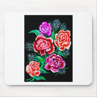 Colorful Flowers Art Mouse Pad