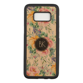 Colorful Flowers Bouquet Custom Monogram Carved Samsung Galaxy S8 Case