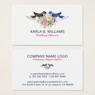 Colorful Flowers Bouquet & Love Birds Business Card