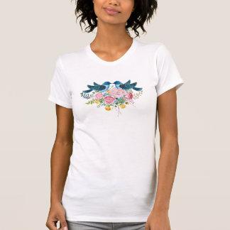Colorful Flowers Bouquet & Love Birds T-Shirt