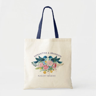 Colorful Flowers Bouquet & Love Birds Tote Bag