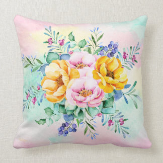 Colorful Flowers Bouquet Throw Pillow