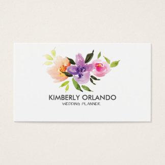 Colorful Flowers Bouquet Watercolors Business Card