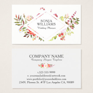 Colorful Flowers Bouquet wedding Planner Business Card