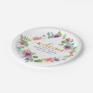 Colorful Flowers Bouquets Frame Wedding Welcome Paper Plate