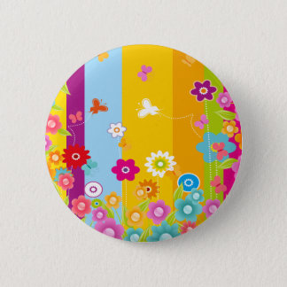 Colorful Flowers butterflies and bars 2 Inch Round Button