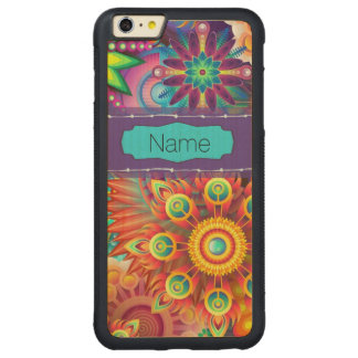 Colorful Flowers Carved Maple iPhone 6 Plus Bumper Case