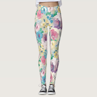 Colorful flowers collage watercolors illustration leggings