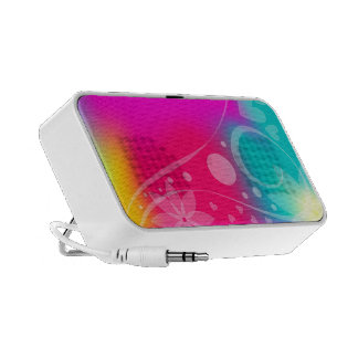 Colorful flowers curls and hearts laptop speaker