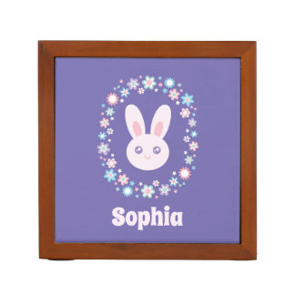 Colorful Flowers Cute Bunny Rabbit Lavender Blue Desk Organizer