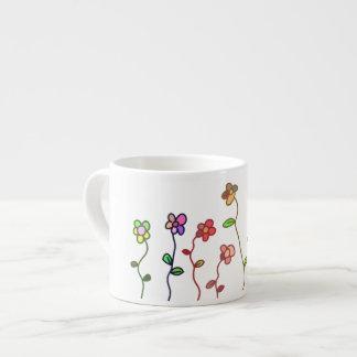 Colorful Flowers Doodle Espresso Mug