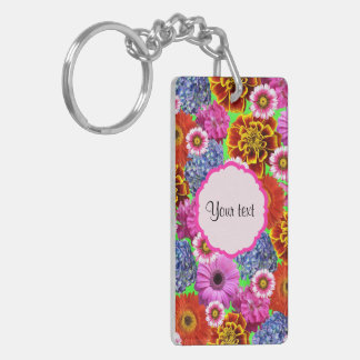 Colorful Flowers Double-Sided Rectangular Acrylic Keychain