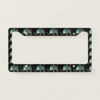 Colorful Flowers Elephant Pattern License Plate Frame