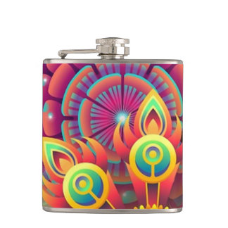 Colorful Flowers Flask